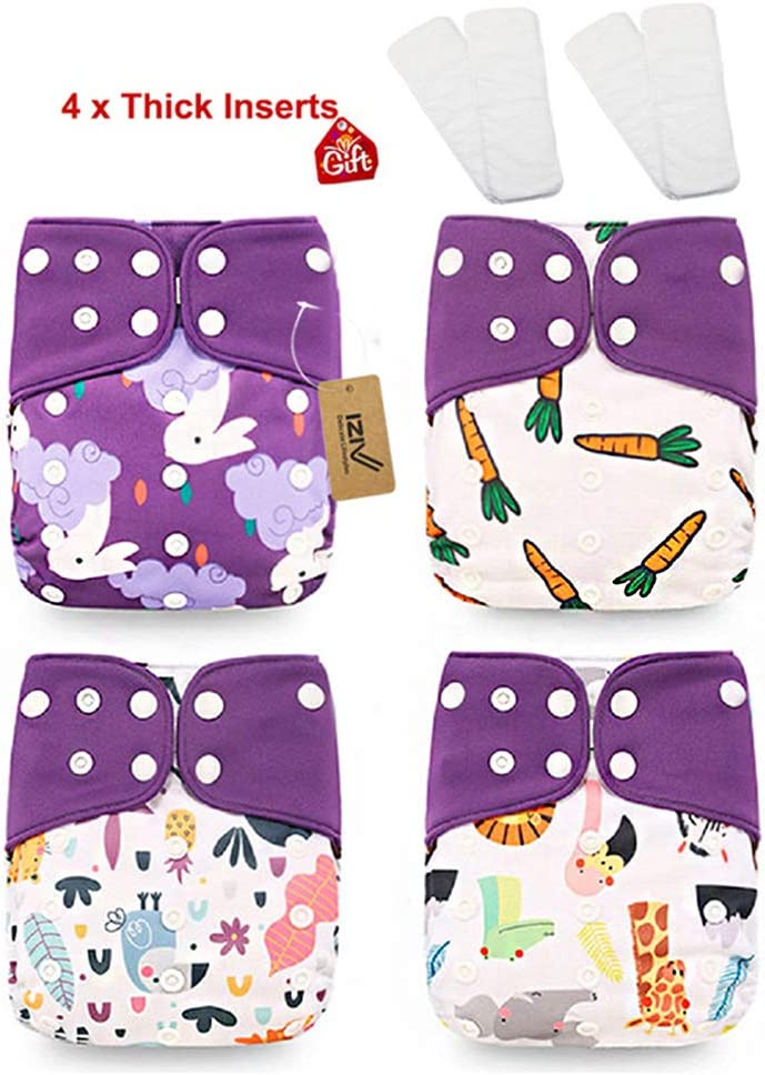 iZiv 4 Pack Newborn with 4 Thick Inserts Infant Waterproof Adjustable Reusable Washable Pocket Cloth Diaper Fit Babies 0-3 Years