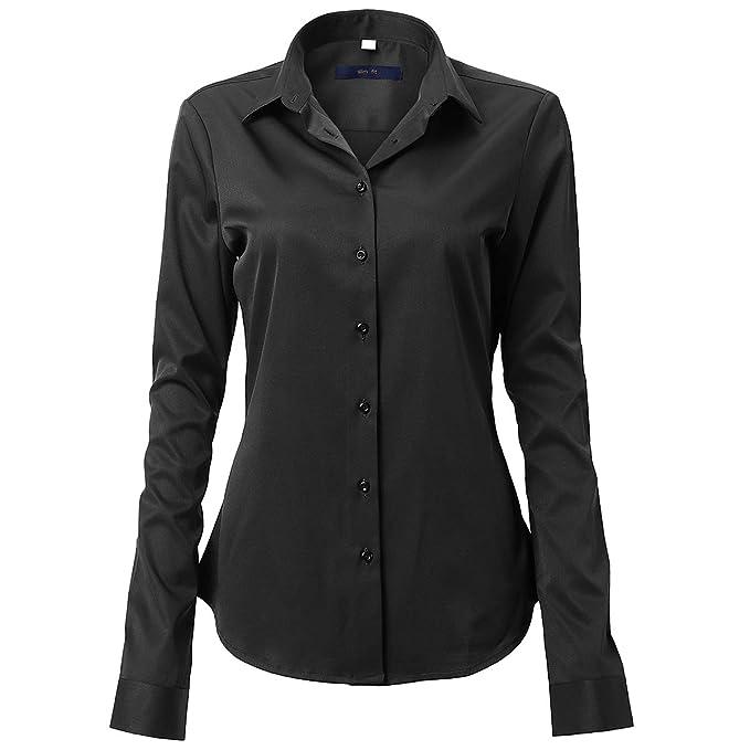 715988f3f0 FLY HAWK Womens Dress Shirts Bamboo Long Sleeve Button Down Shirt Work  Blouse