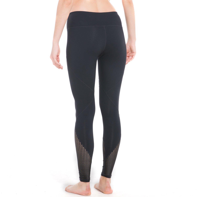 IMIDO Womens Yoga Capri Pants Sport Tights Workout Running Mesh Leggings with Side Pocket