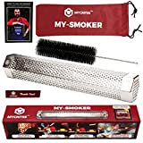 Mycritee Hexagonal Pellet Smoker Tube 12'' | Premium Stainless Steel Smoke Generator for Hot and Cold Smoking bundle + Cleaning Brush + Canvas Bag + eBook with tips for Great Grilling and Smoking