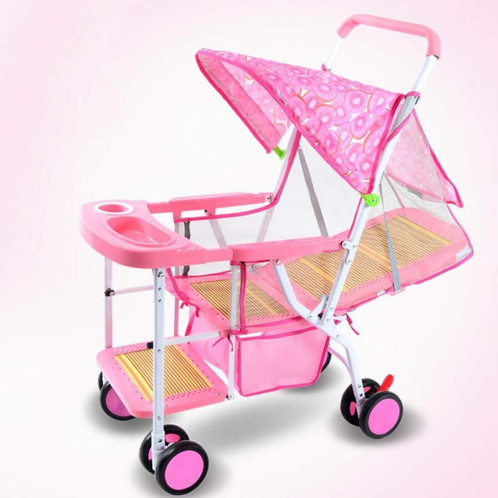 MXYBD 超軽量ポータブル竹マットベビーシンプル四輪トロリー (色 : ピンク)  ピンク B07PWD2R2R