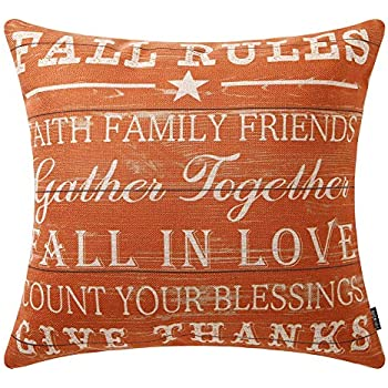 TRENDIN Decorative Throw Pillow Cover 18x18 inch Wooden Plank Orange Fall Rules Cushion Case Square Shape PL379TR