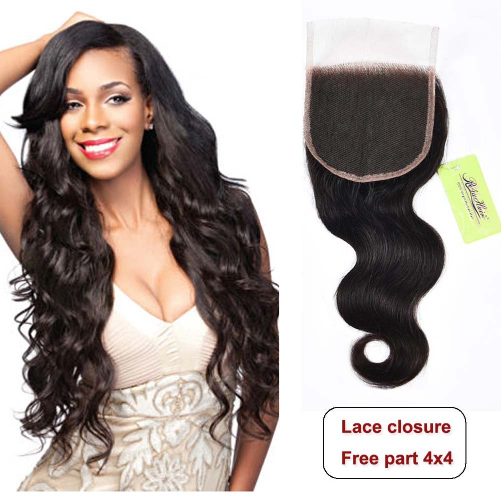 Indian Body Wave Lace Closure, Re4U Unprocessed Virgin Human Hair 4x4 Lace Closure Free Part Top Swiss Light Brown Lace Made Closure(Natural Black Color 12inch 50g)