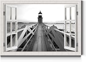 Renditions Gallery Lighthouse Window Wall Art, Black & White Ocean & Pier, Beautiful Nature Artwork, Premium Gallery Wrapped Canvas Decor, Ready to Hang, 24 in H x 36 in W, Made in America Print