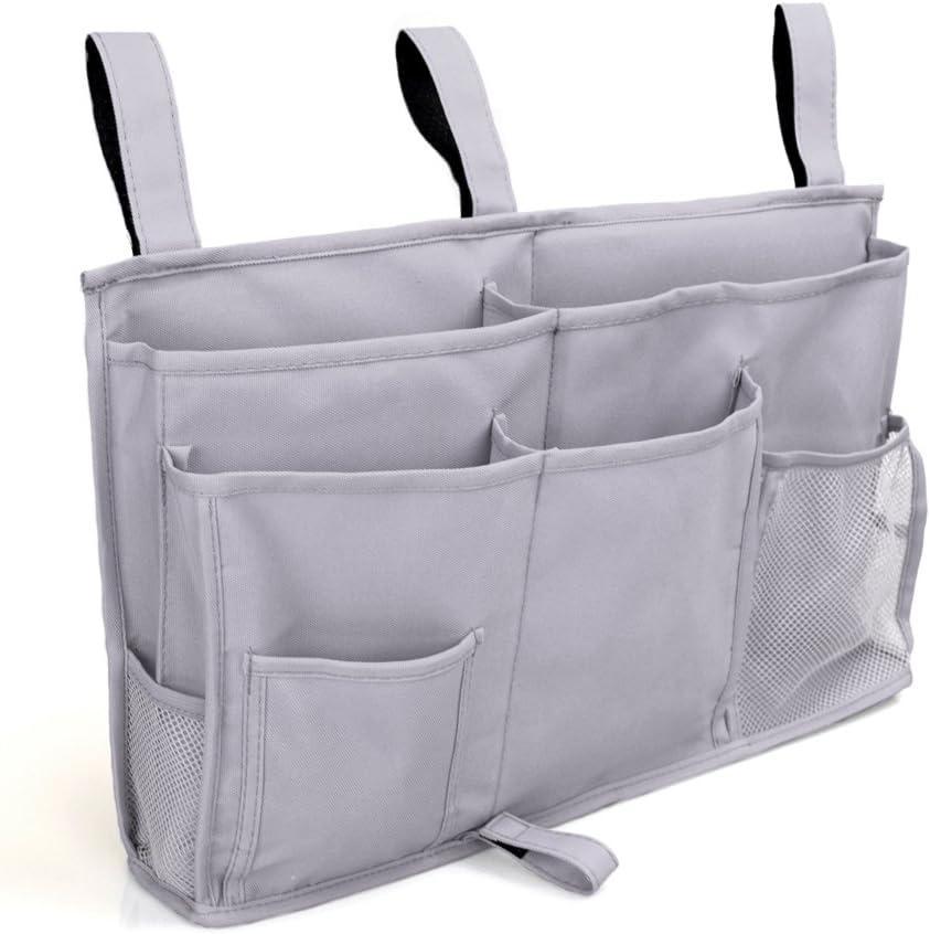 tel/éfono dormitorio camas Pinji 8 bolsillos al lado de la bolsa de almacenamiento multiusos organizador de habitaci/ón colgante soporte de almacenamiento para habitaci/ón de beb/é color gris