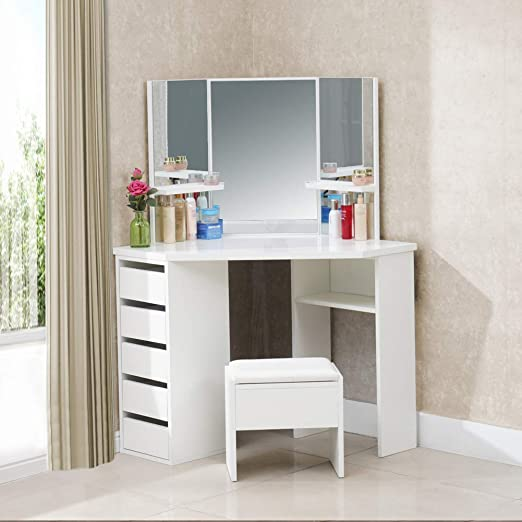 TUKAILAI White Corner Curved Dressing Table Makeup Desk with 5 Drawer 3  Mirror and Stool Makeup Vanity Table Bedroom Furniture with 25MM Thick  Gloss ...