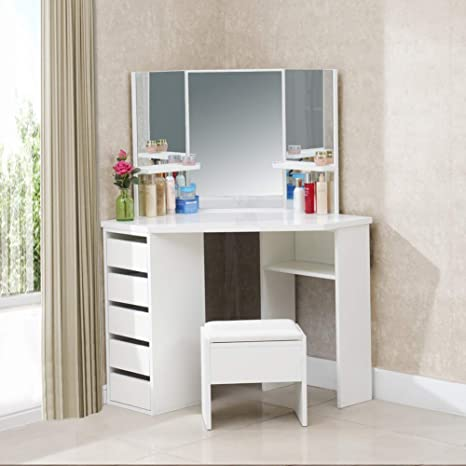TUKAILAI White Corner Curved Dressing Table Makeup Desk with 5 Drawer 3  Mirror and Stool Makeup Vanity Table Bedroom Furniture with 25MM Thick  Gloss