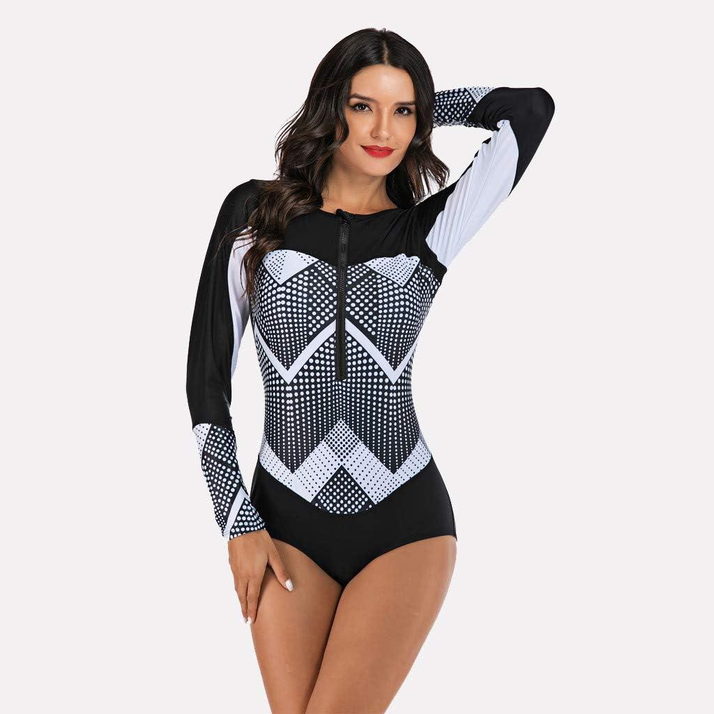 LiLiMeng g One Piece Swimsuits for Women Long Sleeve Stripe Printing Diving Surfing Swimwear Swimsuit Beachwear
