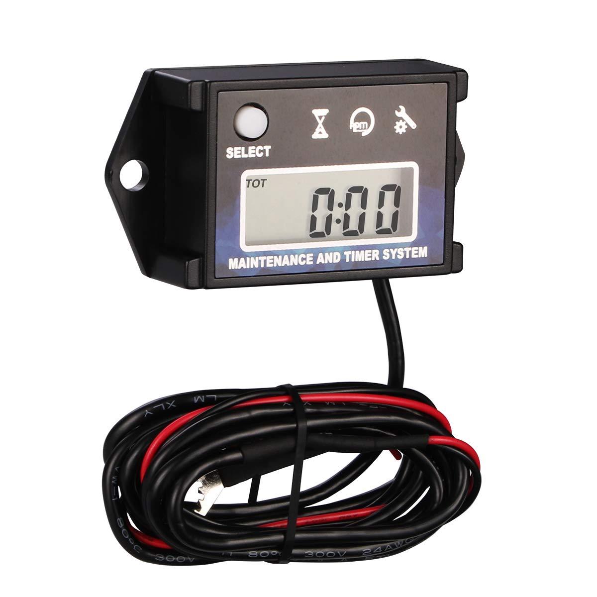 Digital Tach Maintenance Hour Meter Tachometer RPM for Lawn Mower Generator Boat Outboard ATV UTV Motorcycle Motocross Dirt Bike.