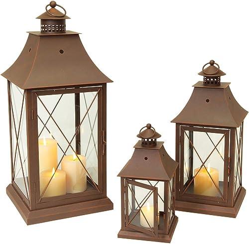 Set of 3 Cottage-Style Brown Pillar Candle Holder Lanterns 24″