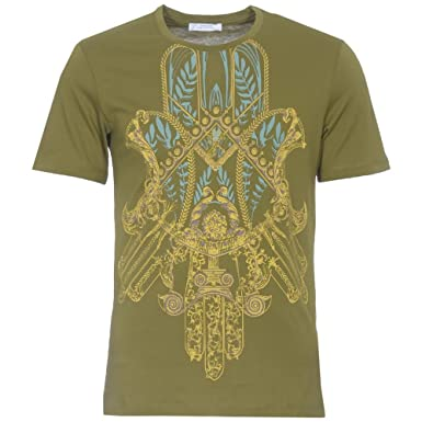 575cad0f VERSACE Mens T-Shirt - Green Print Stretch - Medium: Amazon.co.uk: Clothing