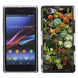 TopCaseStore / la caja del caucho duro de la cubierta de protección de la piel - Flowers Nature Floral Green Garden - Sony Xperia Z1 Compact D5503