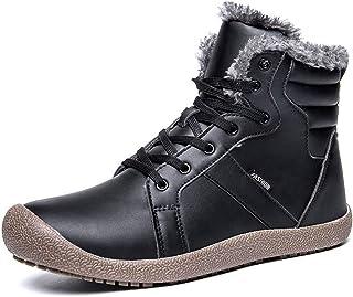 HhGold Männer Stiefel Anti-Rutsch Winter Schuhe Männer Plüsch Warme Winterstiefel Männer Wanderschuhe Rutschfeste (Farbe : B schwarz, Größe : 10=46 EU)