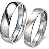 Gogolan Real Love Couple Rings Splicing Heart Pattern Men 6-15 Women 4-11 (an Order Consists only one Ring, not Set)