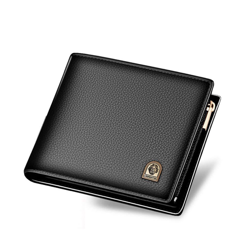KHGUDS Men Standard Wallets Genuine Leather Short Wallet Wallets Casual Men Luxury Purse Card Holders Zipper Wallets