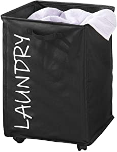 mDesign Fabric Laundry Hamper Basket with Handles, Drawstring Mesh Closure, Wheels - Portable and Foldable for Compact Storage - Single Hamper Design, Novelty Print - Black/White Lettering