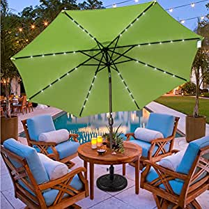Sundale Outdoor 11FT 40 LED Lights Aluminum Patio Market Umbrella with Hand Push Tilt and Crank, Garden Pool Solar Powered Lighted Parasol, 8 Ribs, Apple Green
