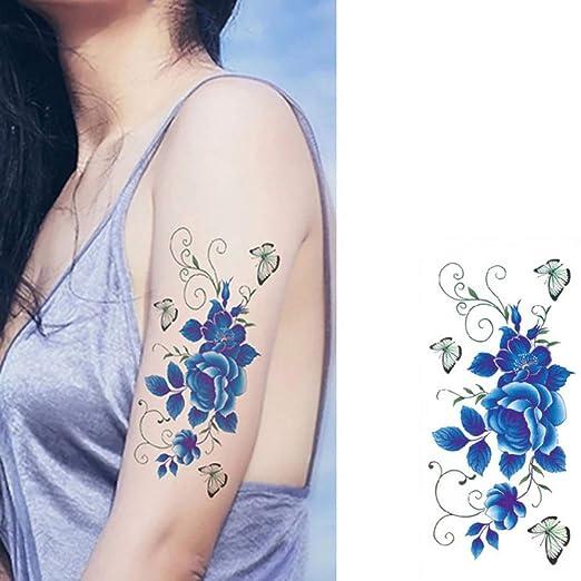 tzxdbh 5Pcs- Etiqueta Engomada del Tatuaje Colorido Diseño De Flor ...