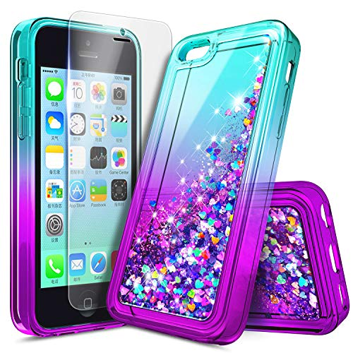 iPhone 4S / iPhone 4 Case with Screen Protector for Girls Kids Women, NageBee Glitter Liquid Quicksand Waterfall Floating Sparkle Shiny Bling Diamond Cute Case for iPhone 4/4S -Aqua/Purple