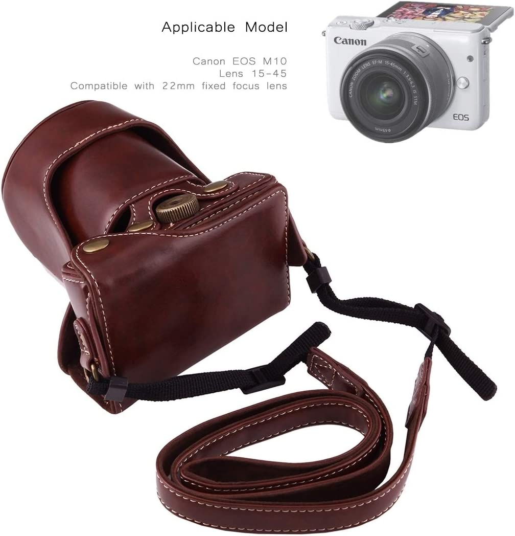 Perfect Home Convenience Durable Full Body Camera PU Leather Case Bag with Strap for Canon EOS M10 Durable Color : Coffee