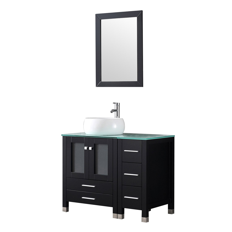 Walcut 36 Black Bathroom Vanity And Sink Combo Modern Mdf Cabinet