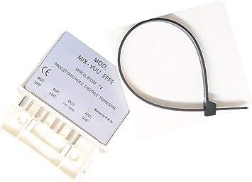 Mix-vuu EFFE – Mezclador para Antenas en Versión de Palo A 3 entradas: VHF y 2 UHF – atenuación de Paso < 4dB