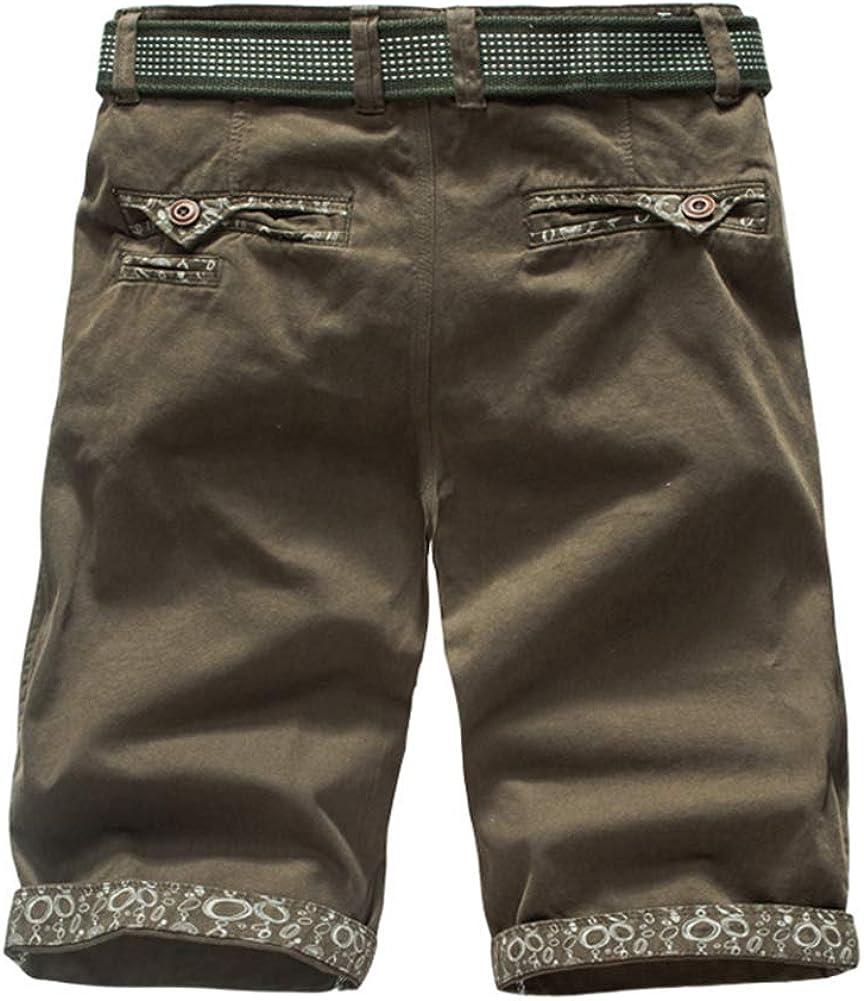 Hombre Cargo Shorts Slim Fit Color S/ólido Bot/ón Cremallera Pantalones Cortos