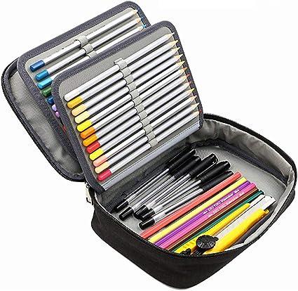 Estuche escolar para lápices de gran capacidad para niños y niñas con bolsillo interior con cierre: Amazon.es: Oficina y papelería