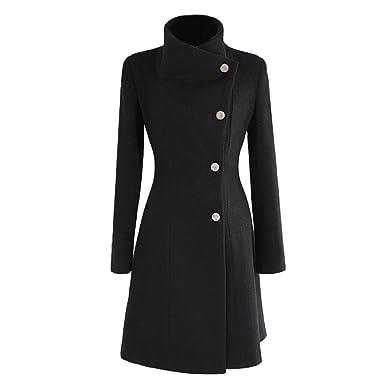Manteau pour Femme de nonbrabd, Double Breasted, Veste Longue d'hiver Style Vintage, Tailles LMS XS