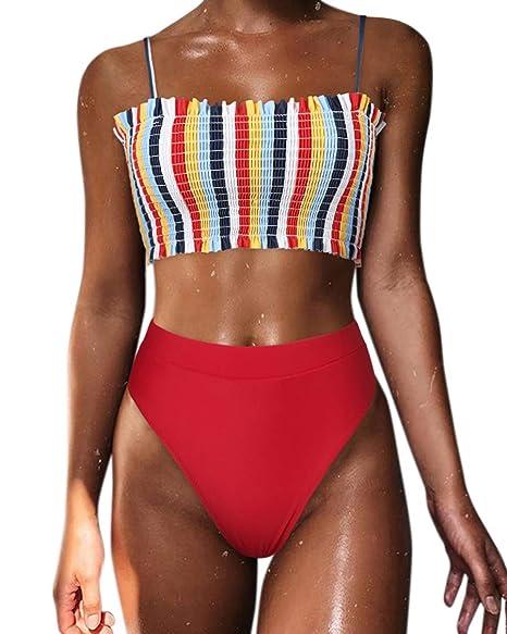 82b456b40a8 SUUKSESS Women Cute Shirred Bandeau Bikini Sets High Waisted 2 Pieces  Swimsuit (Large(US 6-8), Rainbow)