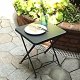 PHI VILLA Folding Metal Side Table Outdoor Patio Folding Bistro Table, Gray
