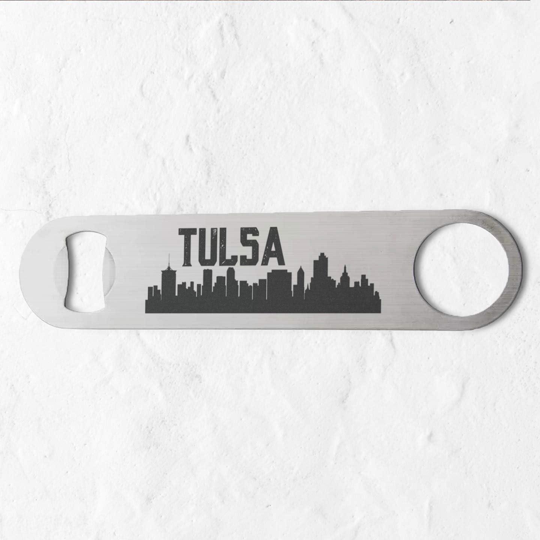 Tulsa Oklahoma Skyline Stainless Steel Heavy Duty Flat Bar Key Beer Laser Etched Bottle Opener