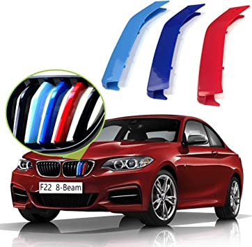 8-Beam ONLY iJDMTOY Exact Fit //////M-Colored Grille Insert Trims For 2014-up BMW F22 F23 2 Series 220i 228i 230i 235i w//Performance Black Kidney Grille