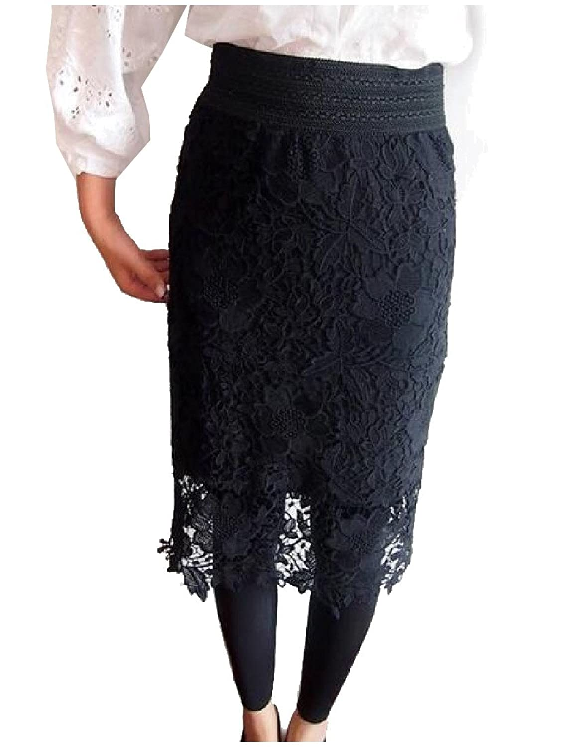 Abetteric Women High Rise Waistband Stretchy Lace Slim Mid Skirt