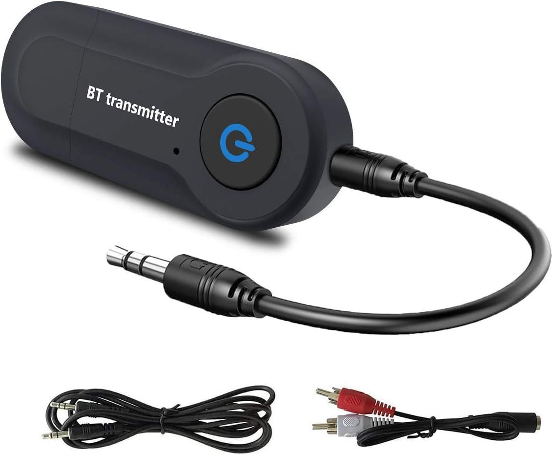 Transmisor Bluetooth 5.0, Adaptador Bluetooth USB, Portátil Bluetooth Audio Baja Latencia con Audio Inalámbrico 3,5MM Cable y RCA 3,5MM Cable para PC/TV/Auriculares/Altavoces/Stereo/MP3/MP4