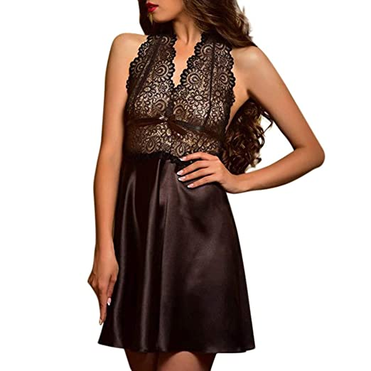 567ad87e16 Image Unavailable. Image not available for. Color: New Nightdress Set  Women's Sexy Satin Lace Sleepwear Babydoll ...