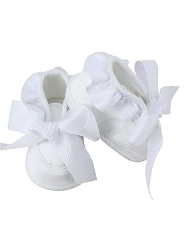 6f5860086fab4 Boutique-Magique Chaussons de baptême bébé Fille avec Noeud  Amazon ...