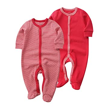 VNFOX Baby Footies Outwear Outfit ,Newborns Romper Cotton Footed Sleep and Play