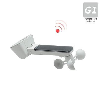 Emisor con sensor de sol y viento para toldos, incluye batería, color blanco (