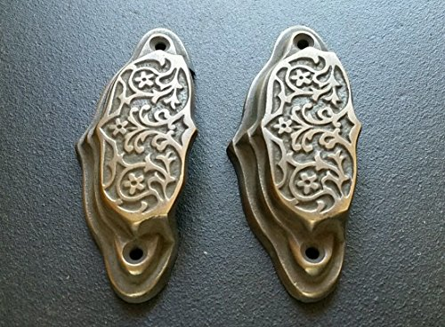 2 brass Ornate Apothecary cabinet drawer bin cup pull Handles 3 9/16