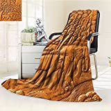 Decorative Throw Blanket Ultra-Plush Comfort carved thai elephant on the wood wall Soft, Colorful, Oversized | Home, Couch, Outdoor, Travel Use(60''x 50'')