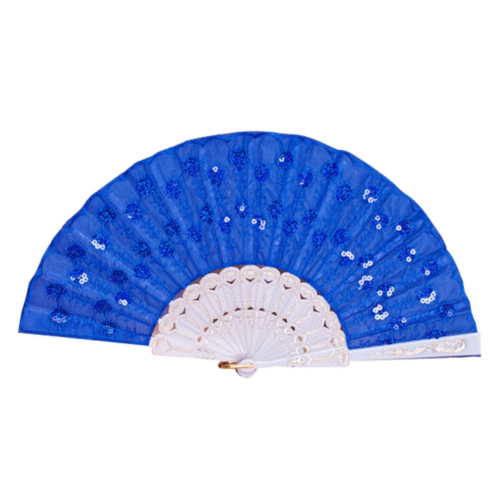 Labu Store Peacock Sequined Square Women Girl Dancing Fan Elegant Peacock Print Chinese Style Cloth Folding Hand Fans by Labu Store