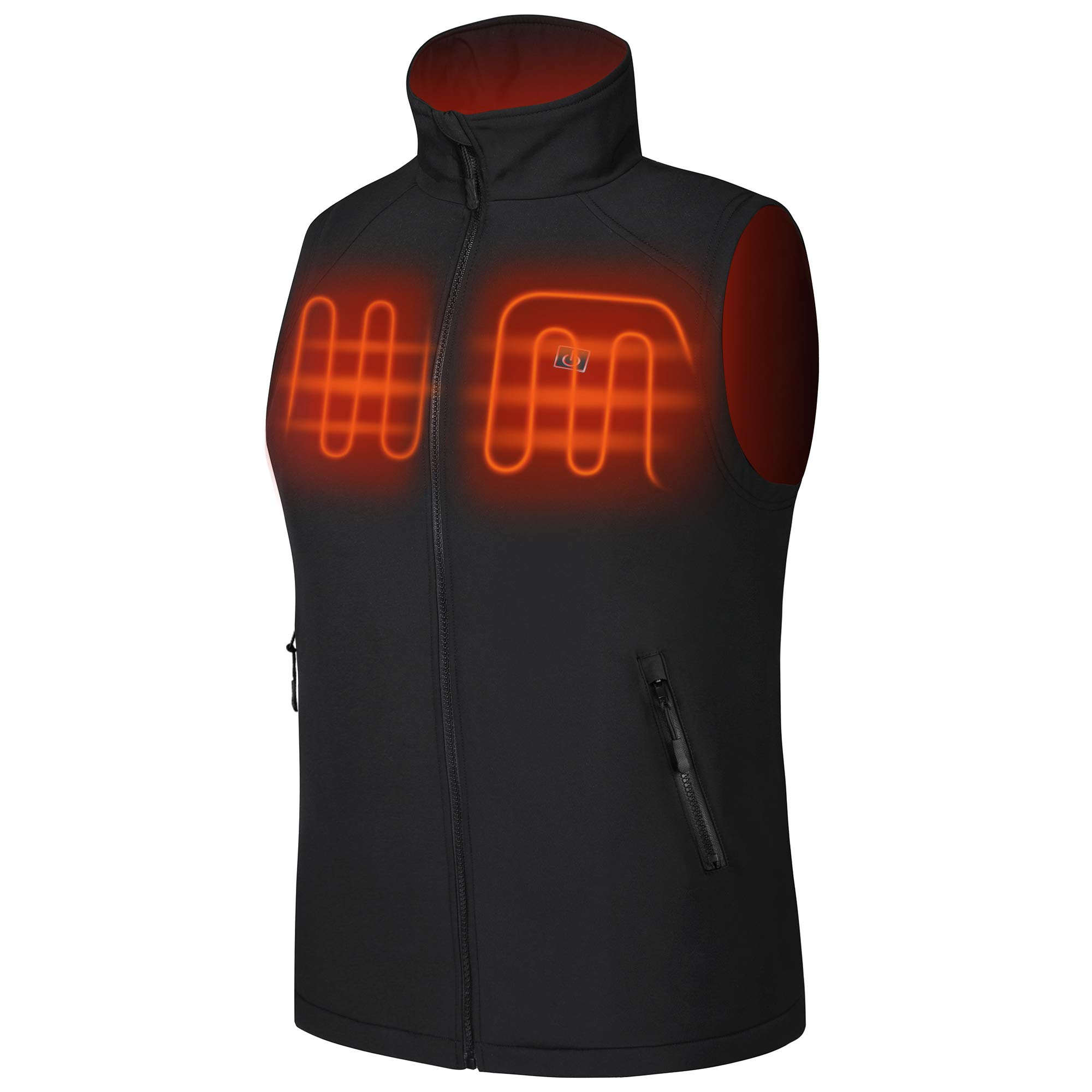 NORA TWIPS Heated Vest Lightweight and Water&Wind Resistant for Men Black by NORA TWIPS