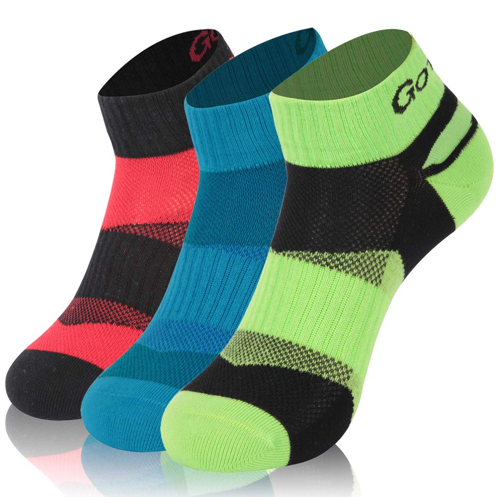 Trail Running Socks, Gotops No Show Antimicrobial Athletic Socks,3 Pack Blister Resist Summer Moisture Wicking No Show Socks For Men and Women Outdoor Sports Socks,Mix 1,Medium