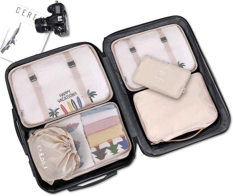 kleidertaschen f/ür Kleidung Kosmetik Schuhbeutel Kabel Aufbewahrungstasche Reisen Organizer Tasche,Beige Koffer Organizer Set 8-teilig