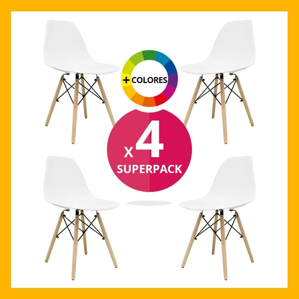 Silla Nórdica (Pack 4) - Silla Tower Blanca - silla nordic escandinava inspirada en silla eames dsw - Nera - (Elige tu color)