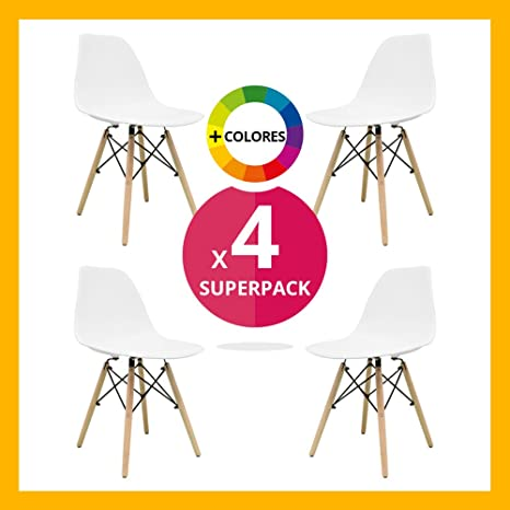 Silla Nórdica (Pack 4) - Silla Tower Blanca - silla nordic escandinava inspirada en