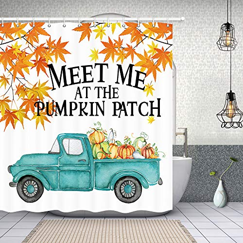 Autumn Meet Me at The Pumpkin Patch Shower Curtain for Bathroom, Rustic Blue Car Truck Pickup Pumpkin with Fall Leaves Fabric Retro Thanksgiving Shower Curtain, Maple Leaves Bath Curtain, 69X70in (Blue Retro Shower Curtain)