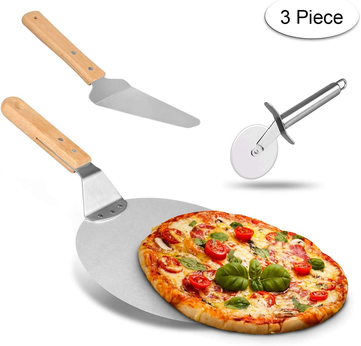 Weeygo - Pala de Acero Inoxidable con Mango de Madera para Hornear Pizza y Tartas en Horno y Parrilla, Cortador, 3 Piezas, Color Plateado