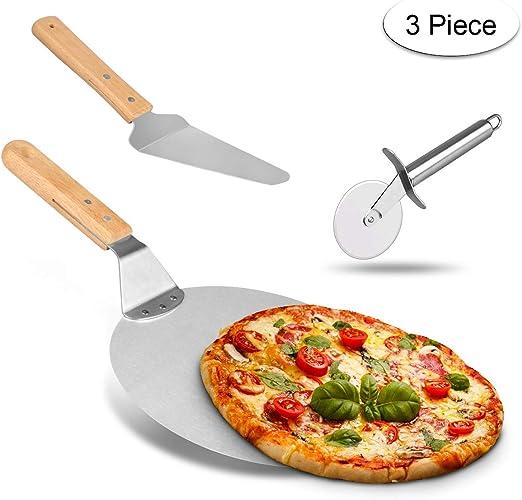 Weeygo - Pala de Acero Inoxidable con Mango de Madera para Hornear Pizza y Tartas en Horno y Parrilla, Cortador, 3 Piezas, Color Plateado: Amazon.es: Hogar